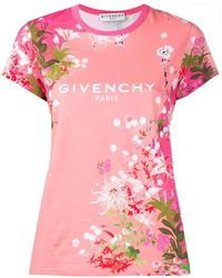 Givenchy Floral Print T-shirt - Pink