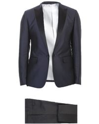 DSquared² Blue Wool And Silk Beverly Hills Tuxedo