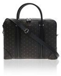 Givenchy Brown Crosses Printed Leather Briefcase