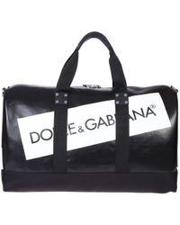 Dolce & Gabbana Printed Logo Duffle Bag - Black
