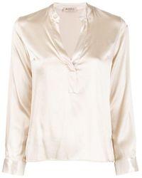 Blanca Vita Satin Silk Blouse - White