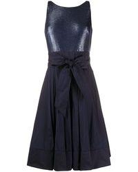 Lauren by Ralph Lauren Yuko Metallic-taffeta Dress - Blue