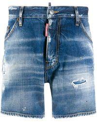 DSquared² Distressed Effect Denim Shorts - Blue