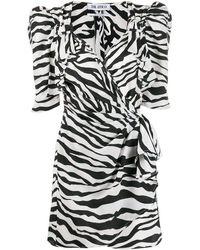 The Attico Zebra-print Chiffon Wrap Mini Dress - Black