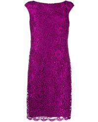 Lauren by Ralph Lauren Veeh Embroidered Lace Dress - Purple