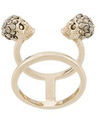 Alexander McQueen Embellished Brass Ring - Blue