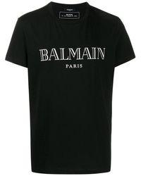 Balmain T-shirt di cotone con logo - Nero