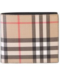Burberry Wallet With Motif Check - Natural