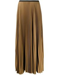 Blanca Vita Pleated Georgette Skirt - Brown
