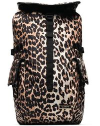 Ganni Leopard Print Nylon Backpack - Black