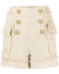 Balmain Tweed Shorts - Natural
