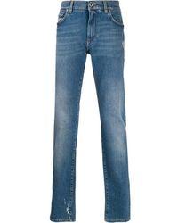 Dolce & Gabbana Logo Insert Denim Jeans - Blue