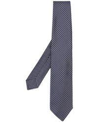 Kiton Micro-patterned Silk Tie - Black