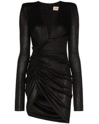 Alexandre Vauthier Sparkled V-neck Mini Dress - Black
