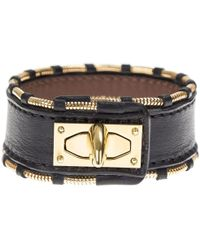Givenchy - Leather And Gold Metal Shark Bracelet - Lyst