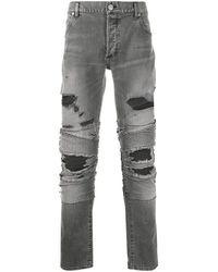 Balmain Jeans biker di denim - Grigio