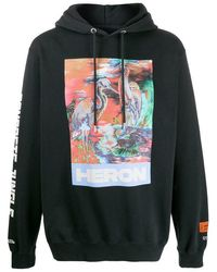 Heron Preston Heron Water Colours Print & Embroidery Popover Hoody - Black