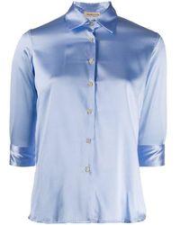 Blanca Vita Silk Satin Shirt - Blue