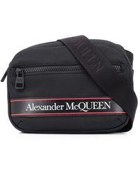 Alexander McQueen Borsa di tela con logo - Nero