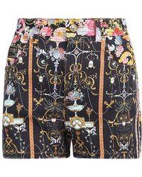 Versace Jeans Couture Shorts di denim con stampa - Nero