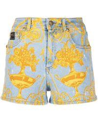 Versace Jeans Couture Shorts di denim con stampa - Blu