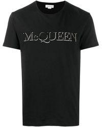 Alexander McQueen T-shirt di cotone con ricamo - Nero