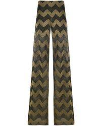 M Missoni Viscose And Cotton Blend Trousers - Black
