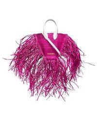 Jacquemus Le Petit Baci Straw Bag - Pink