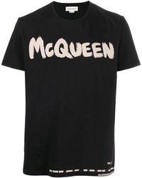 Alexander McQueen T-shirt di cotone con stampa - Nero