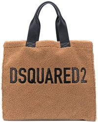 DSquared² Logo Embroidery Faux Fur Bag - Brown