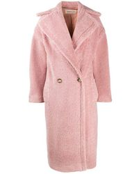 Blanca Vita Double-breasted Teddy Coat - Pink