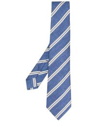 Kiton Striped Silk Tie - White