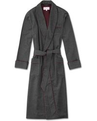 Derek Rose Cashmere Dressing Gown Duke 2 Pure Cashmere Charcoal - Grey