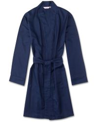 Derek Rose Lounge Gown Lombard 6 Cotton Jacquard Navy - Blue