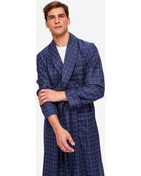 Derek Rose Tasselled Belt Dressing Gown York 39 Pure Wool Check Navy - Blue