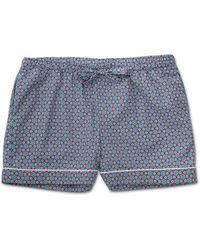Derek Rose Lounge Shorts Ledbury 37 Cotton Batiste Multi - Blue