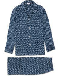 Derek Rose - Classic Fit Piped Pyjamas Brindisi 32 Pure Silk Satin Navy - Lyst