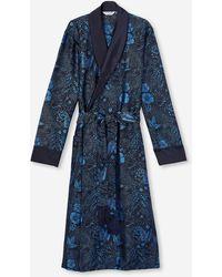 Derek Rose Tasselled Belt Dressing Gown Verona 52 Pure Silk Jacquard Navy - Blue