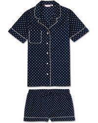 Derek Rose Shortie Pyjamas Plaza 60 Cotton Batiste Navy - Blue