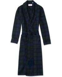 Derek Rose Classic Dressing Gown Tartan Pure Wool Black Watch