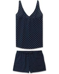 Derek Rose Cami Short Pajama Set Plaza 60 Cotton Batiste Navy - Blue