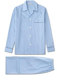 Derek Rose Classic Fit Piped Pyjamas Savoy Cotton Elasticated Waist Blue