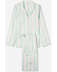 Derek Rose Pyjamas Milly 9 Cotton Full Satin Stripe - Multicolour