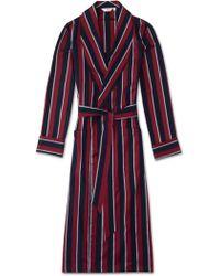 Derek Rose Classic Robe Cotton Satin Stripe Regimental Raf - Red