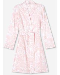 Derek Rose Dressing Gown Ledbury 42 Cotton Batiste - Pink