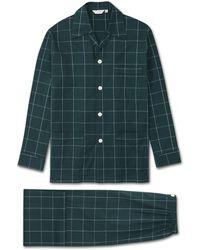 Derek Rose Classic Fit Pyjamas Ranga 39 Brushed Cotton Green