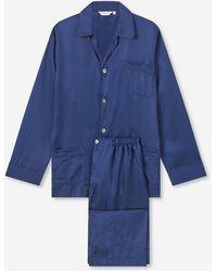 Derek Rose Classic Fit Piped Pyjamas Woburn 8 Pure Silk Satin Stripe Navy - Blue