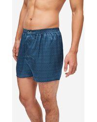 Derek Rose Classic Fit Boxer Shorts Brindisi 63 Pure Silk Satin Multi - Blue
