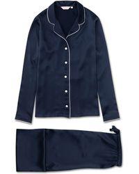 Derek Rose Pajamas Bailey Pure Silk Satin - Blue