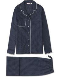 Derek Rose Pajamas Plaza 21 Pure Cotton Batiste Navy - Blue